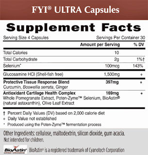 FLY Ultra capsules Supplement Facts.